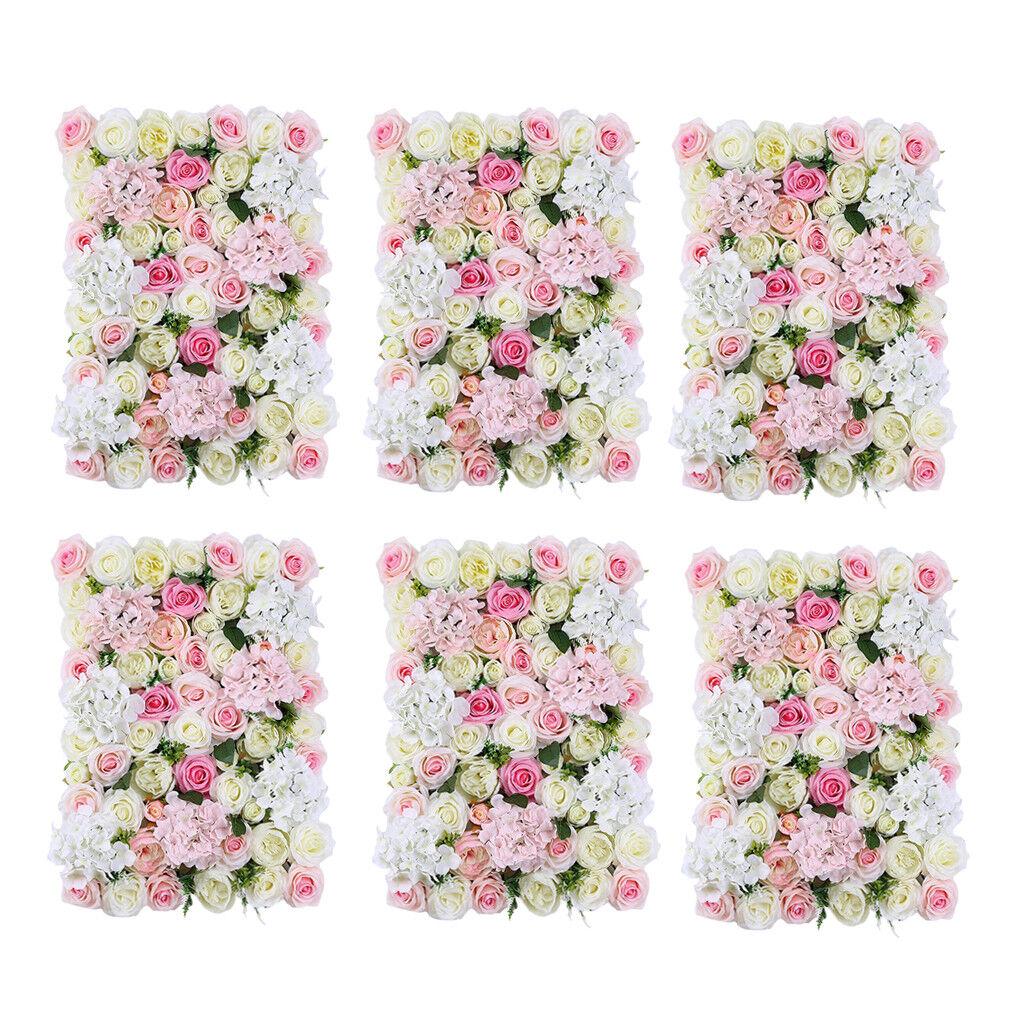 6pcs   Set Feuillage Artificiel Floral Floral Mur Panneau De Mariage Lieu De