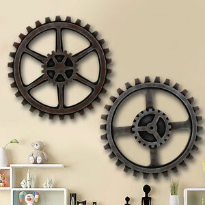 Image is loading Wooden-Gear-Wall-Art-Industrial-Antique-Vintage-Chic-