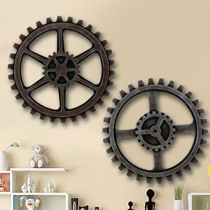 Gear Wall Decor wooden gear wall art industrial antique vintage chic modern wall