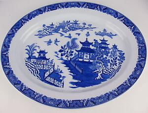 Antique-15-1-4-034-Oval-Platter-Royal-Worcester-flow-Blue-Willow-c1890-039-s-vintage
