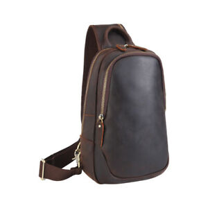 Men-Vintage-Real-Leather-Sling-Chest-Bag-Sport-Crossbag-Backpack-w-USB-Interface