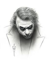Details About 12 X 18 Joker Drawing Heath Ledgerthe Dark Knight Rises Pencil Airbrush
