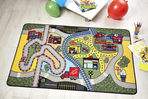 KIDDY CHILDREN/'S PLAY ROOM RACE GAME CLEARANCE ANTI SLIP MACHINE WASH FLAIR RUGS