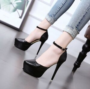 Women-039-s-Ankle-Strap-Very-High-Heels-Round-Toe-Platform-Buckle-Casual-Pumps-Shoes