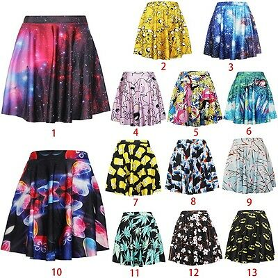 Women Summer 3D Colorful High Waist Umbrella Pleated Skater Short Skirt DQ