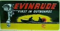 Evinrude First In Outboards Heavy Embossed Metal Sign Boat Motor 2060101 Fish