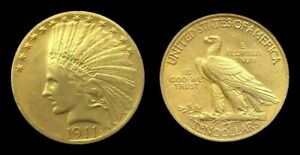 COPIE-Piece-plaquee-OR-GOLD-Plated-Coin-10-Dollars-Indian-Head-Eagle-1911