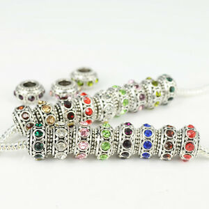 Rhinestone Zinc Alloy Charms Spacer Loose Beads Fit