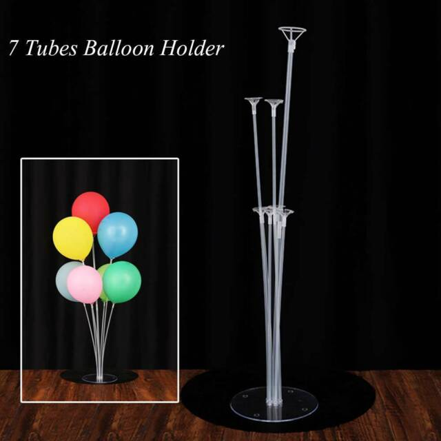 7 Tubes Clear Floating Balloons Holder Balloon Stick Column Stand Table  Decor ~