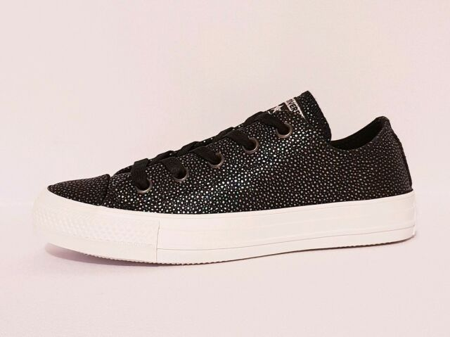 d7e4cc012e0a CONVERSE ALL STAR 159194C CTAS OX BLACK GUNMETAL LEATHER LOW TOP TRAINERS  LADIES