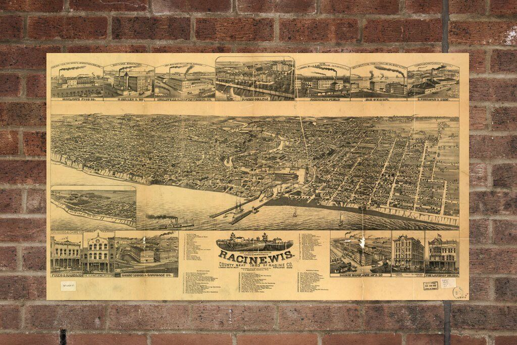 Vintage Racine Print, Aerial Racine Photo, Vintage Racine WI Pic, Old Racine Pho
