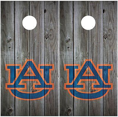 Auburn Tigers Vintage Wood Grey Cornhole Board Decal Wrap Wraps