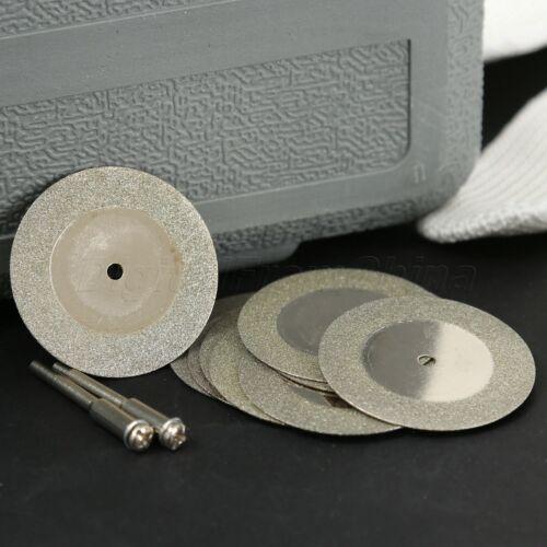 10PCS Diamond Cutting Off 40mm Wheel Disc Rotary Tool w// 2 Arbor Shaft for Dreml