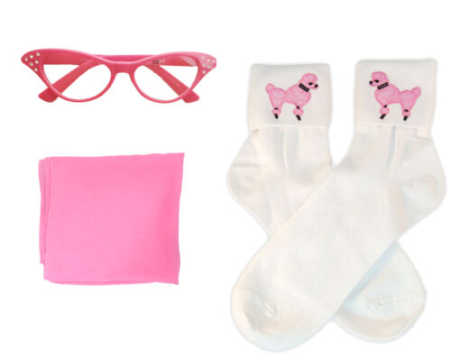 1950s 3 pc Child Accessory Set Vintage Hair Scarf-Poodle Socks-Cat Eye Glasses