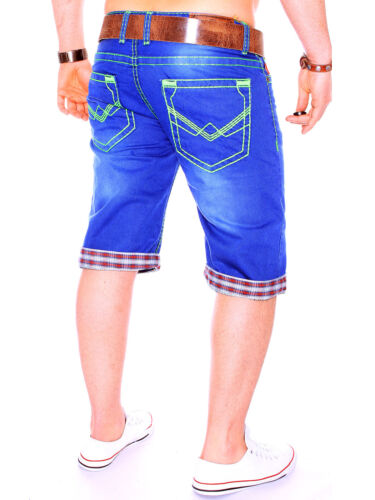 r.b.3.2 Uomo Capri Jeans Short spessore cucitura Verde Cuciture Pantaloni Corti Bermuda Nuovo