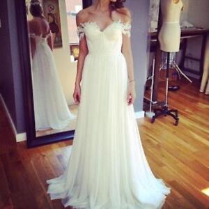 Image Is Loading Beach Wedding Dress Off Shoulder Lace Chiffon Bohemian