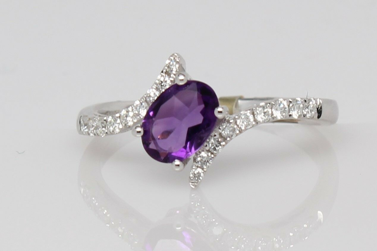 Oval Cut Amethyst and Diamond Accented Ring in 14K White gold