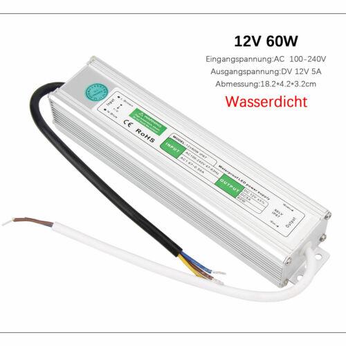 DC12V//24V Trafo Netzteil Schaltnetztei Wasserdicht IP67 Für LED Streifen 10W120W