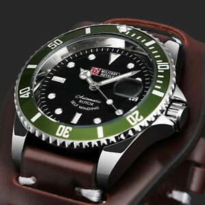 Military-Royale-Mechanical-Self-winding-Mens-Watch-Brown-Leather-Date-Display