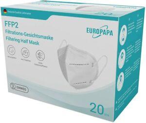 FFP2 EUROPAPA 20 Stk 5-Lagen Atemschutzmaske Mundschutz Händler aus Deutschland