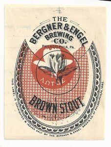 1880-039-s-Bergner-amp-Engel-Brown-Stout-Label-Philadelphia-PA