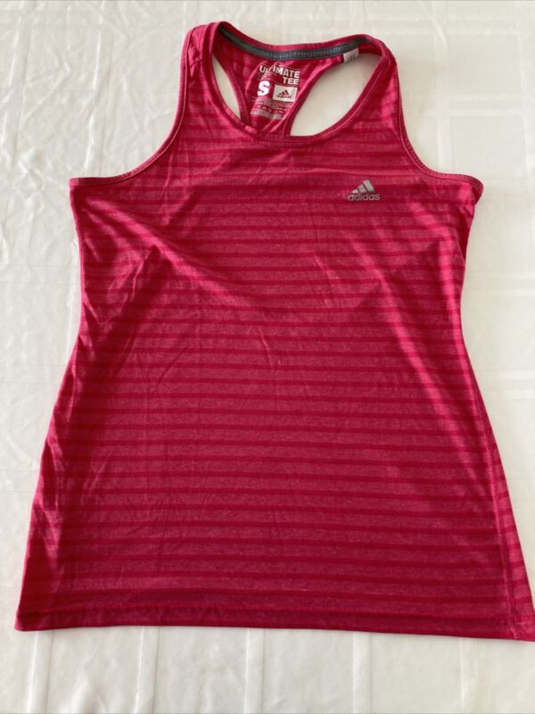 Adidas Climalite Ultimate Tee Women Small Pink Athletic Racer Back Tank Top Ts1