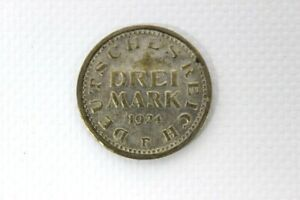 Probe-Fehlpraegung-Drei-Mark-1924-Messing-Weimarer-Republik