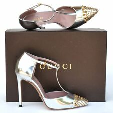 GUCCI New sz 37 - 7 Designer Gold Tone Studded Womens High Heels Shoes silver