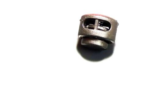Palanca de bloqueo de cable de 2x Tapón Clip Pinza Con Cordón Hebilla primavera atrapar Negro UK