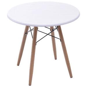 Details Sur Homcom Table Basse Ronde Design Scandinave O 60 X 55h Cm Metal Mdf Blanc