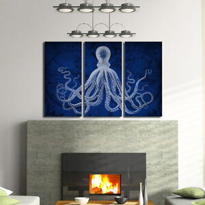 Octopus art on old vintage world map in navy blue triptych set of 3 image is loading octopus art on old vintage world map in gumiabroncs Image collections