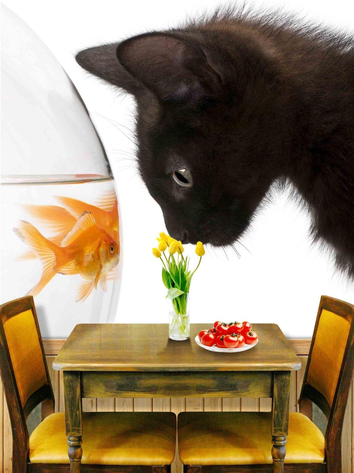 Papel Pintado Mural De Vellón black Gato Y goldfish 3 Paisaje Fondo De Pansize