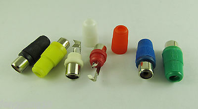 6x Solder Type RCA Phono Female Jack Audio Video Cable Adapter Connector 6 Color