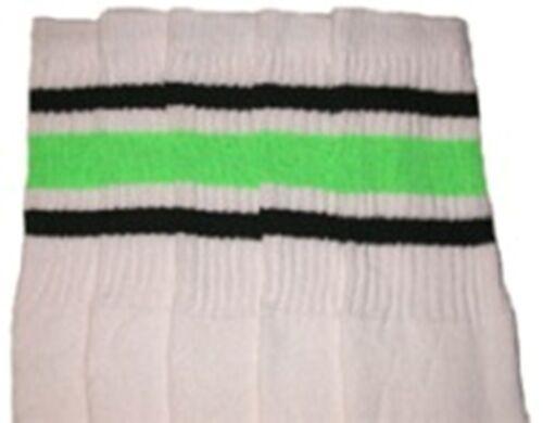 "22-84 22"" KNEE HIGH WHITE tube socks with BLACK//NEON GREEN stripes style 3"