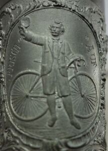Antiker Zinn Becher Frisch Auf Fahrrad Radfahrer Hedelfingen Stuttgart