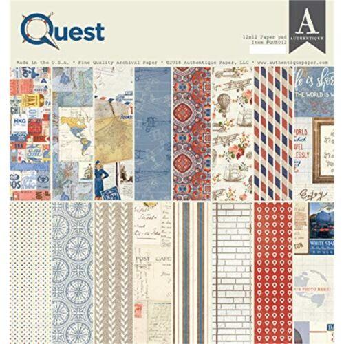 "8 Diseños//3 cada uno Quest Authentique de doble cara Cartulina Pad 12/""x12/"" 24//pkg"
