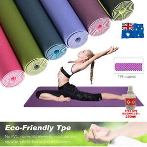 TPE Yoga Mat Eco Friendly Exercise Fitness Gym Pilates Non Slip Dual Layer Pad