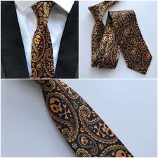 Golden Skull Necktie Men Tie Halloween Fashion Black 8cm Orange Printed Paisley