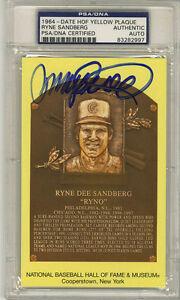 Ryne Sandberg Signed Baseball Hall Of Fame Plaque Cubs Psa
