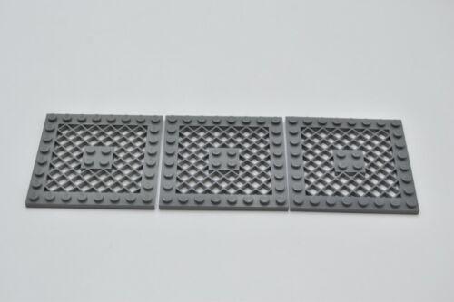 LEGO 3 X PIASTRA GRIGLIA NUOVO Grigio scuro Dark Bluish Gray Plate 8x8 Grille 4151