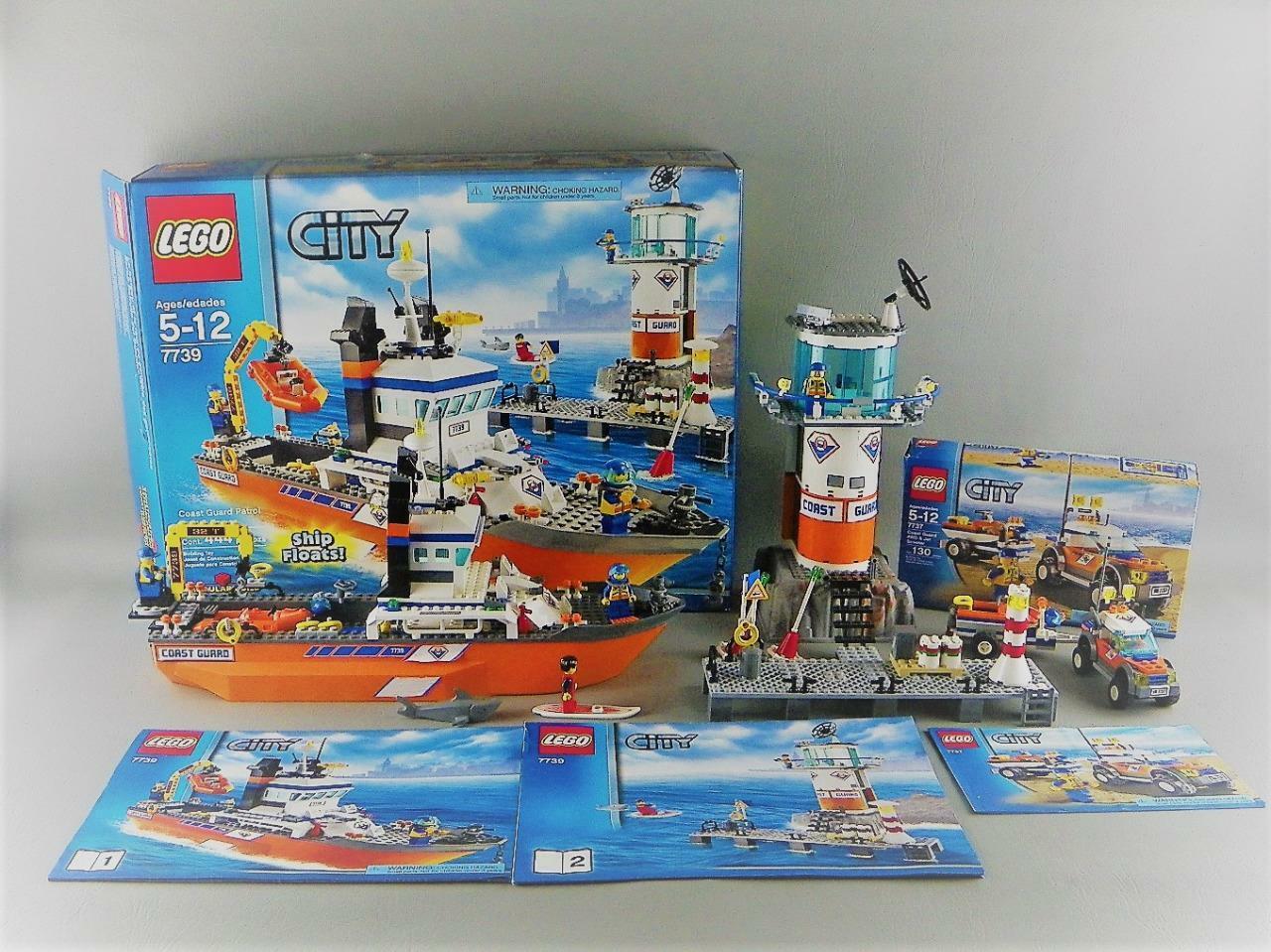 LEGO City Coast Coast Coast Guard Patrol Boat 7739   7737 100% Complete w  Box + Manuals Lot 6c4b0e
