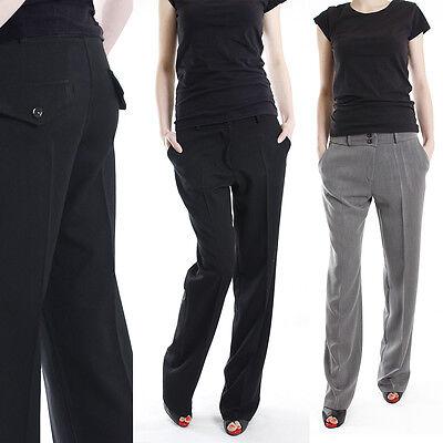 Schicke dünne Business Damen Stoffhose Hüfthose Hose mit geradem Bein 34-42