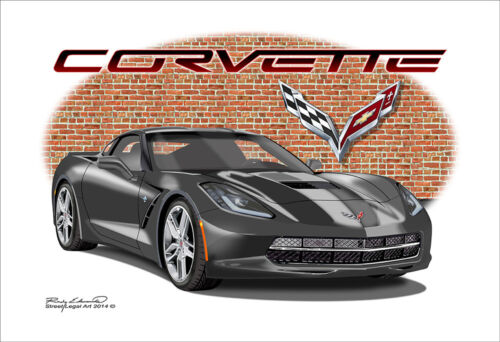 C7 Corvette Stingray Muscle Car Art Print 12 colors