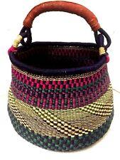 African Tribal Straw & Leather Shopping Bolga Basket Bag Large Shoulder Tote XL