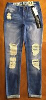$49.00 Vintage Reunion Womens Royal Blue Retro Ankle Skinny Ripped Jeans