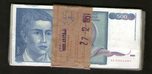 YUGOSLAVIA 500 DINARA 1990 .G 100  BANKNOTE  FUL BUNDLE