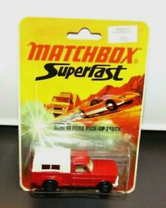 Matchbox Superfast No 6 Ford Pick Up Truck Grille Blanche Base Noire 1972 Blister