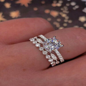 Gorgeous Women 925 Silver Filled Rings Round Cut White Sapphire Ring Size 6-10