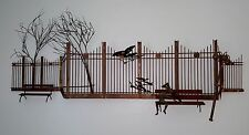 Curtis C Jere Boy in Park Bench Bird Mid Century Modern Metal Wall Art Sculpture