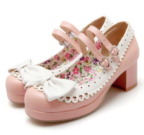 Women/'s Bowknot Lolita Ankle Strap Block Heels Mary Jane Pumps Shoes High Heels